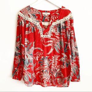 BOGO! LOFT Floral Boho Crochet Blouse M